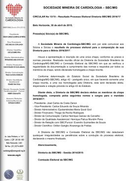 SOCIEDADE MINEIRA DE CARDIOLOGIA – SBC/MG