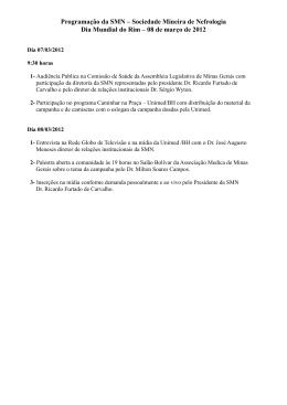 Programação da SMN – Sociedade Mineira de Nefrologia Dia