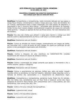ATO PÚBLICO DA CLASSE FISCAL MINEIRA - Sindifisco-MG