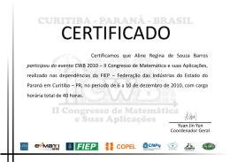 Aline Regina de Souza Barros - II Congresso de Matemática e Suas