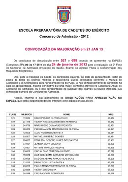 2012 CONVOCAÇÃO DA MAJORAÇÃO em 21 JAN 13