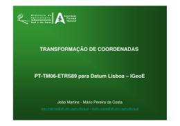 PT-TM06-ETRS89 para Datum Lisboa – IGeoE