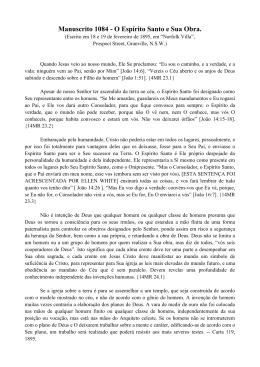 Manuscrito 1084 - O Espírito Santo e Sua Obra.