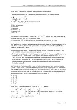 Exercícios de Aprofundamento – 2015 – Mat – Log/Exp/Teo. Num.