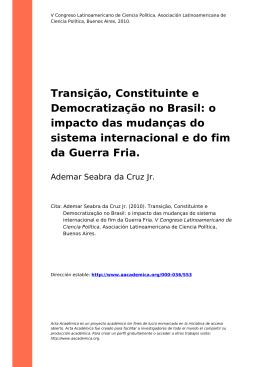 Transição, Constituinte e Democratização no Brasil