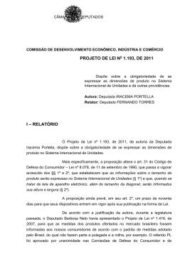 PROJETO DE LEI N 1.193, DE 2011 I – RELATÓRIO