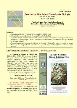 Boletim de História e Filosofia da Biologia, volume 8 número 1