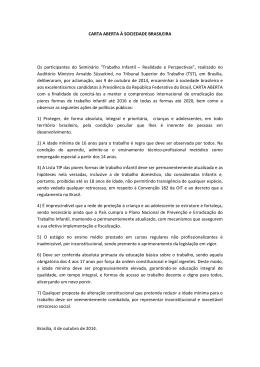 CARTA ABERTA À SOCIEDADE BRASILEIRA Os participantes do