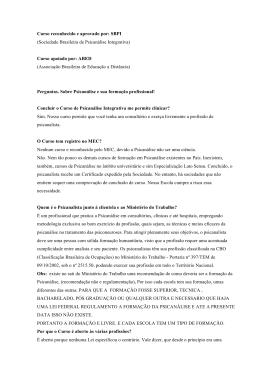 Curso reconhecido e aprovado por: SBPI (Sociedade Brasileira de