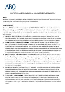 manifesto da academia brasileira da qualidade à sociedade brasileira
