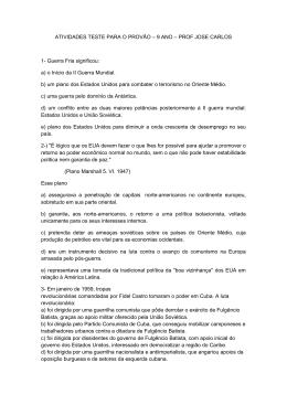 ATIVIDADES TESTE PARA O PROVÃO – 9 ANO – PROF JOSE
