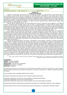 trabalho recuperação final de português – 8º ano