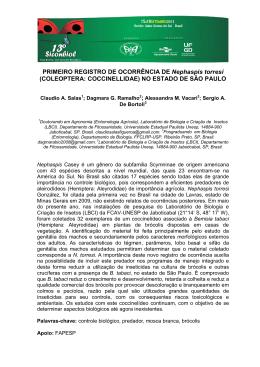 PRIMEIRO REGISTRO DE OCORRÊNCIA DE Nephaspis torresi