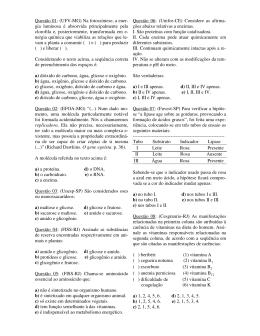 Questão 01: (UFV-MG) Na fotossíntese, a ener