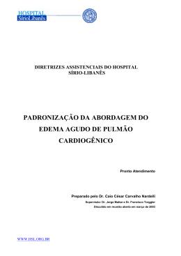 padronização da abordagem do edema agudo de pulmão