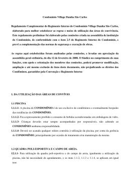 Regimento Complementar - Village Damha São Carlos