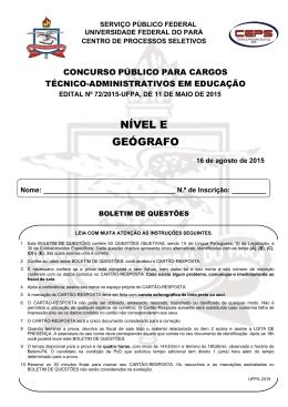 Prova - Ceps - Universidade Federal do Pará