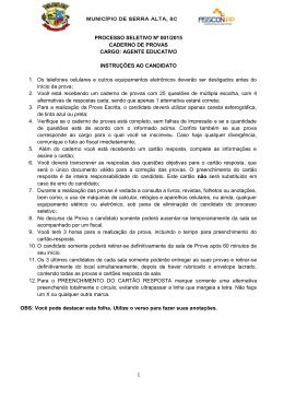 1 PROCESSO SELETIVO Nº 001/2015 CADERNO DE PROVAS