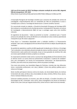 2.62 Lusa (31 de Janeiro de 2015) `Sociólogos contestam avaliação
