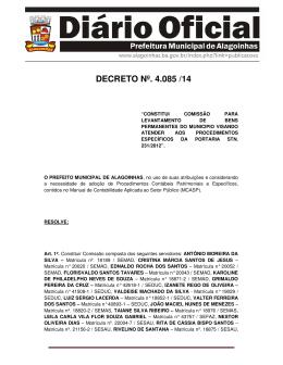 DECRETO Nº. 4.085 /14 - Prefeitura de Alagoinhas