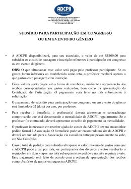 subsídio para participação em congresso ou em evento do gênero