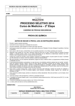 Prova do dia | Química - Faculdade Multivix | Vitória / ES