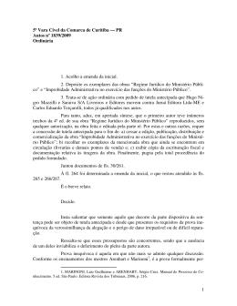 1 5ª Vara Cível da Comarca de Curitiba — PR Autos nº 1839/2009