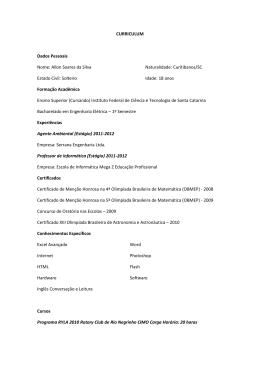 CURRICULUM Dados Pessoais Nome: Allon Soares da Silva