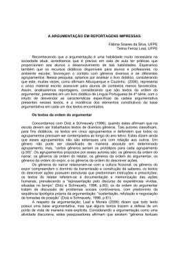 A ARGUMENTAÇÃO EM REPORTAGENS IMPRESSAS. Fátima