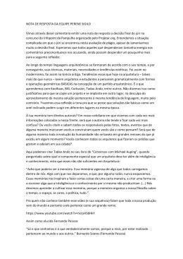 NOTA DE RESPOSTA DA EQUIPE PERENE SIGILO