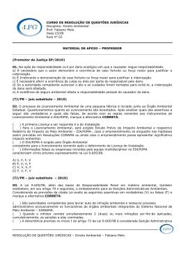 RESOLUÇÃO DE QUESTÕES JURÍDICAS – Direito Ambiental