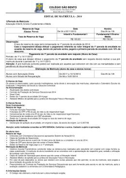COLÉGIO SÃO BENTO EDITAL DE MATRÍCULA