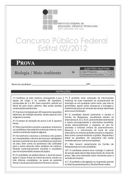 Biologia - prova edital 02/2012