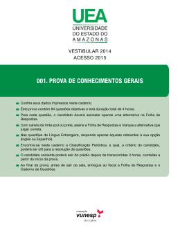 001. PROVA DE CONHECIMENTOS GERAIS