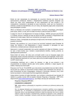 Tributário – IRPF - Livro Caixa Despesas com participação