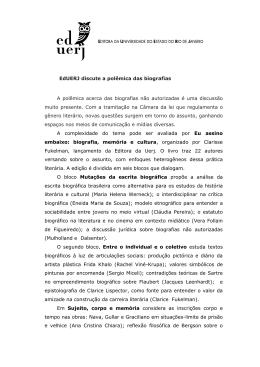 EdUERJ discute a polêmica das biografias A polêmica acerca das