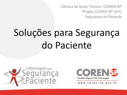 Soluções para Segurança do Paciente - coren-sp