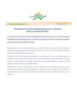 Presidente da Câmara Municipal procura soluções para as Termas