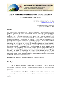 A AÇÃO DO PROFESSOR REFLEXIVO NO ENSINO RELIGIOSO