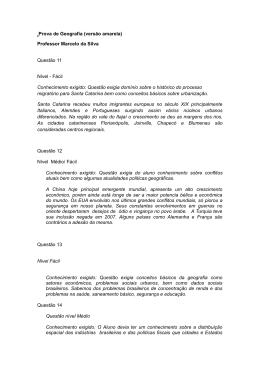 Prova de Geografia (versão amarela) Professor Marcelo da Silva