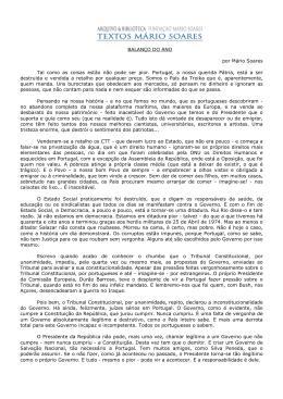 BALANÇO DO ANO por Mário Soares Tal como as coisas estão não