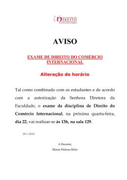EXAME DE DIREITO DO COMÉRCIO INTERNACIONAL Alteração