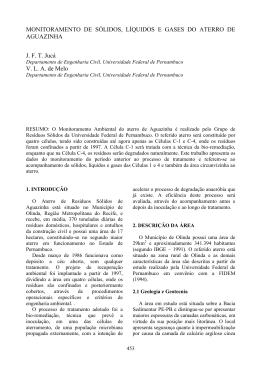 MONITORAMENTO DE SÓLIDOS, LÍQUIDOS E GASES DO