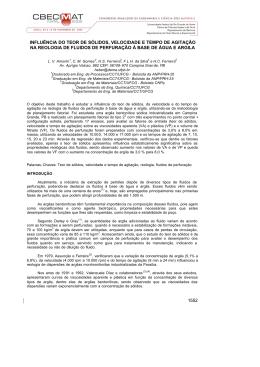 1552 INFLUÊNCIA DO TEOR DE SÓLIDOS, VELOCIDADE