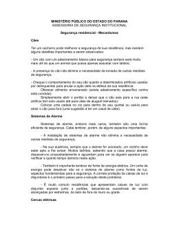 Segurança residencial - Ministério Público do Paraná