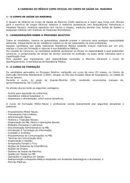 A CARREIRA DO MÉDICO COMO OFICIAL DO CORPO DE SAÚDE
