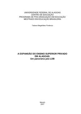 A EXPANSÀO DO ENSINO SUPERIOR PRIVADO EM ALAGOAS