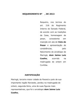 REQUERIMENTO Nº , DE 2013 Requeiro, nos