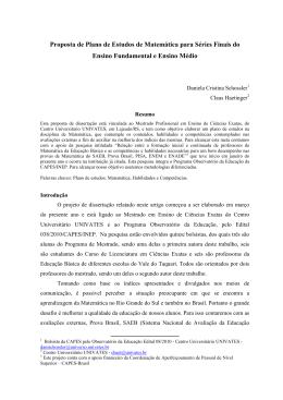 Proposta de Plano de Estudos de Matemática para Séries Finais do