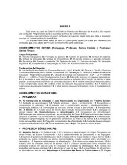 ANEXO II CONHECIMENTOS GERAIS (Pedagogo, Professor